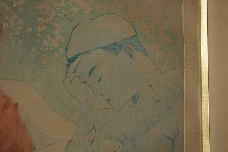 Painting by Richard Ranft, Jeune Femme Et Costumes Des Pierrots For Sale 1