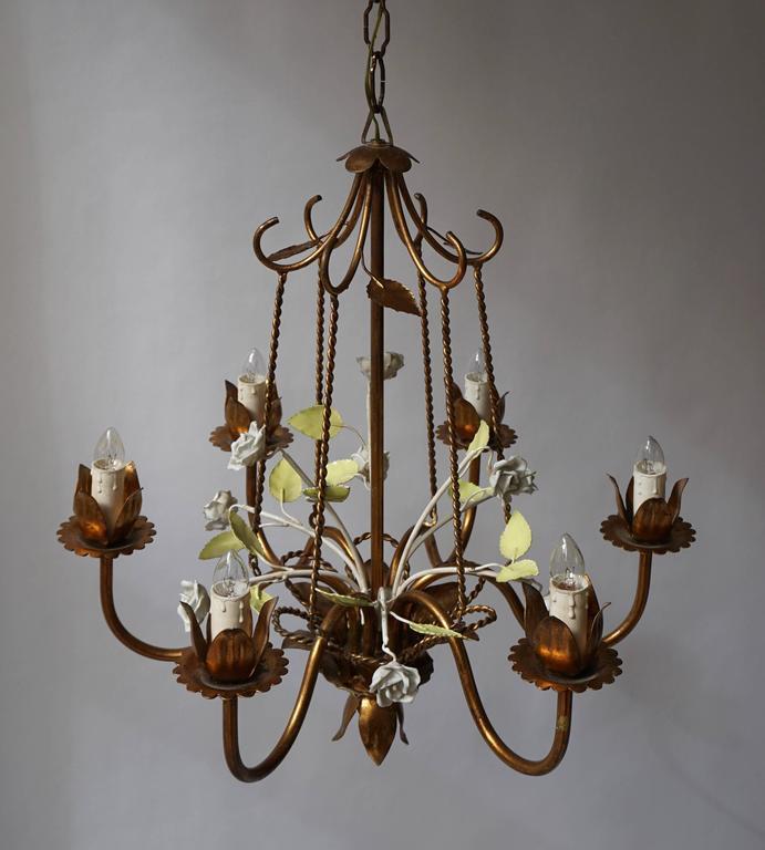 Italian Brass  and Porcelain Flower Chandelier 4