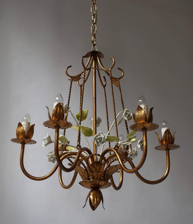 Italian Brass  and Porcelain Flower Chandelier 3