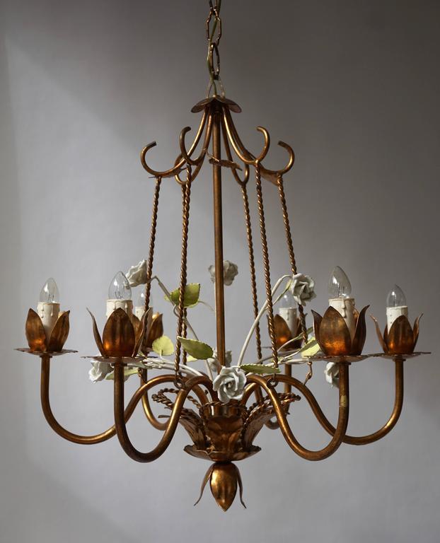 Italian Brass  and Porcelain Flower Chandelier 2