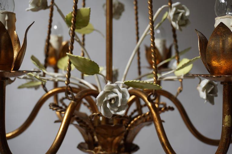 Italian Brass  and Porcelain Flower Chandelier 5