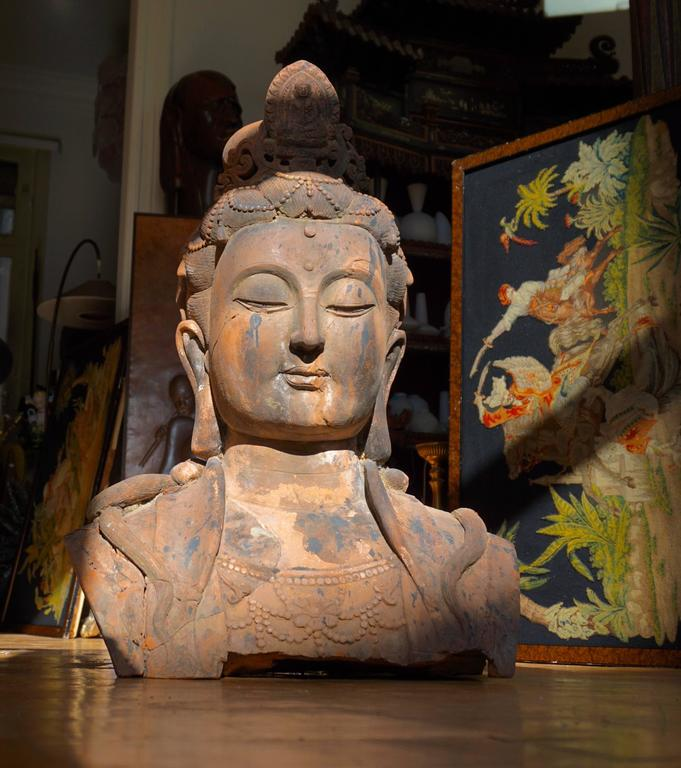 Chinese Massive Larger Than Life Terracotta Bust of Guan Yin, Early 20th Century, China For Sale