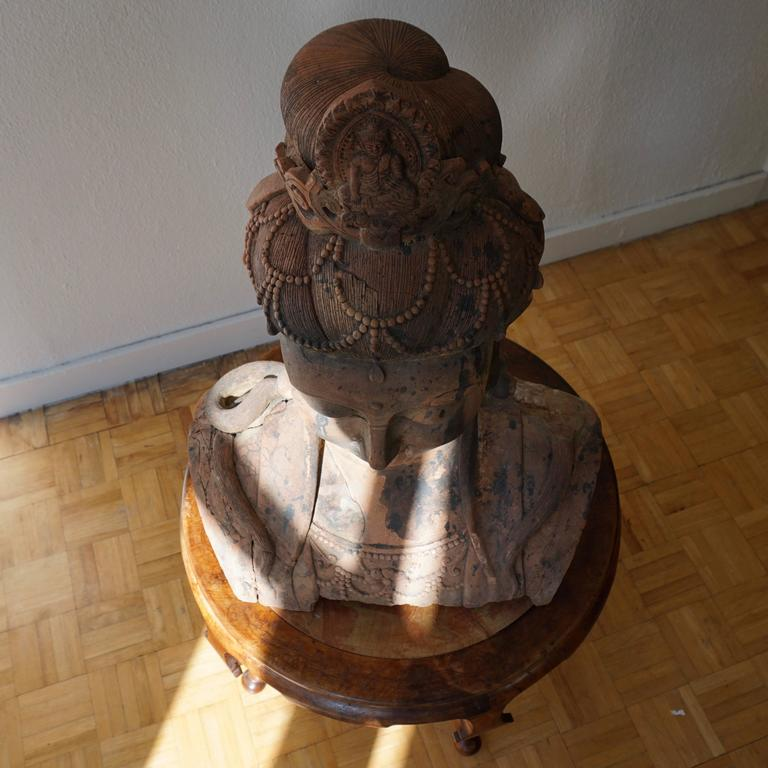 Massive Larger Than Life Terracotta Bust of Guan Yin, Early 20th Century, China For Sale 4