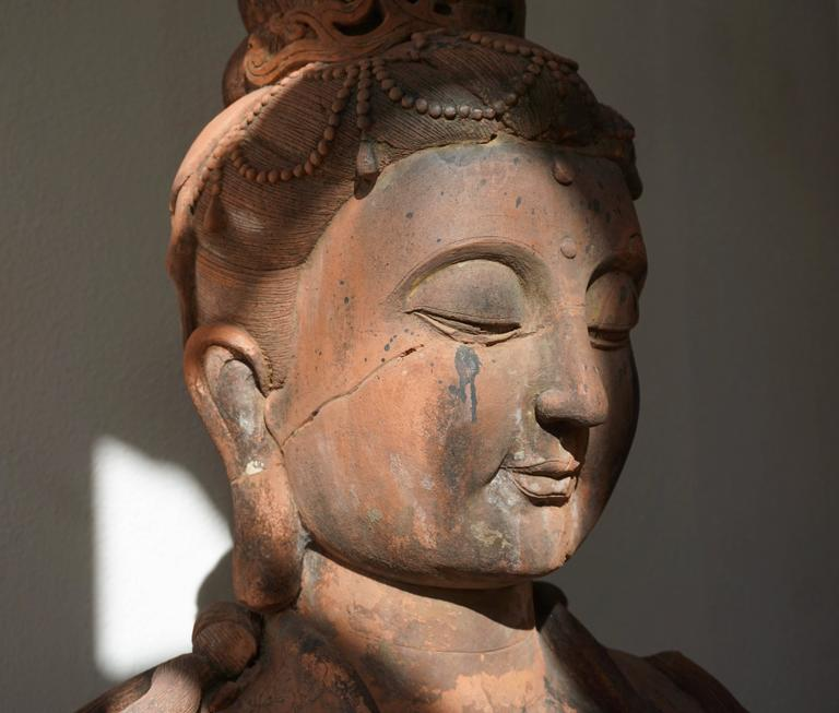 Art Deco Massive Larger Than Life Terracotta Bust of Guan Yin, Early 20th Century, China For Sale