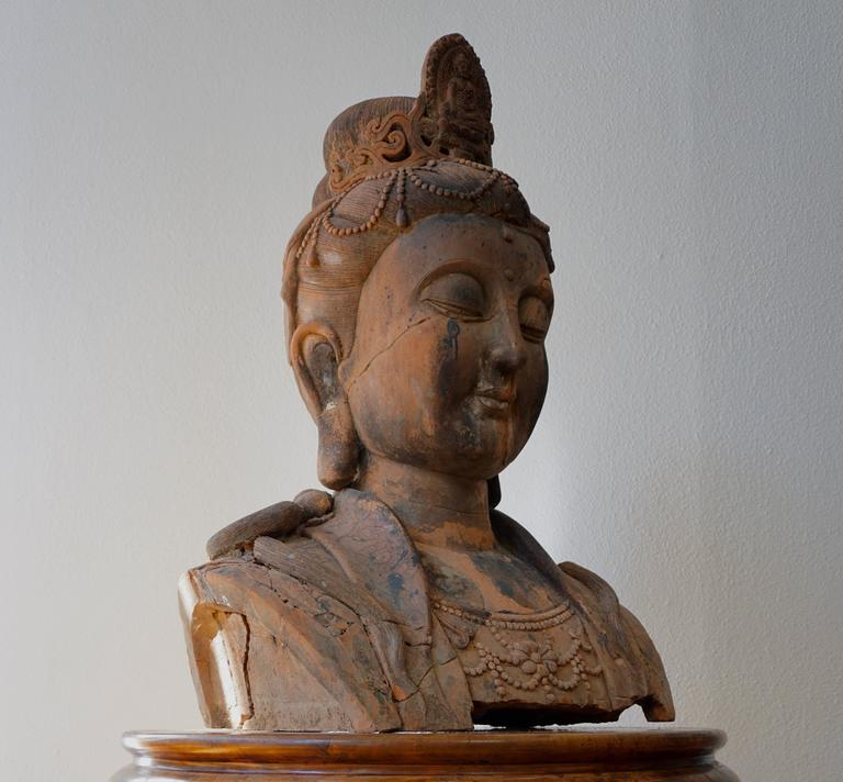 Massive Larger Than Life Terracotta Bust of Guan Yin, Early 20th Century, China For Sale 2
