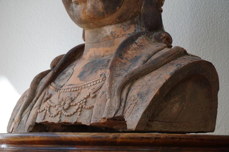 Massive Larger Than Life Terracotta Bust of Guan Yin, Early 20th Century, China For Sale 3