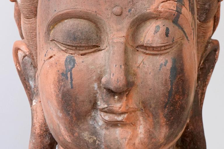 Massive Larger Than Life Terracotta Bust of Guan Yin, Early 20th Century, China For Sale 1