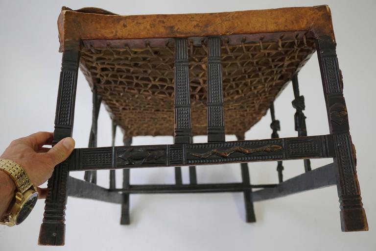 Leather Hardwood Chokwe Bench, Angola, 19th Century For Sale
