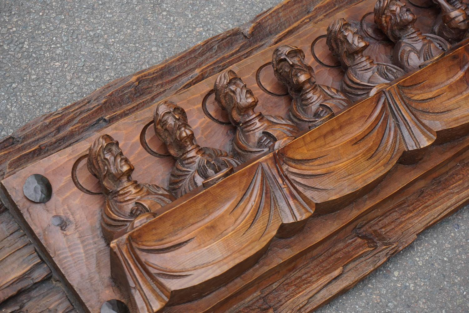 Wood carving representing the last supper for sale at stdibs