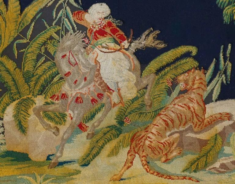 Pair of Gros – Point Stitched Panels Representing Orientalist Scenes In Good Condition For Sale In Antwerp, BE