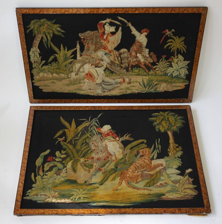 Tribal Pair of Gros – Point Stitched Panels Representing Orientalist Scenes For Sale