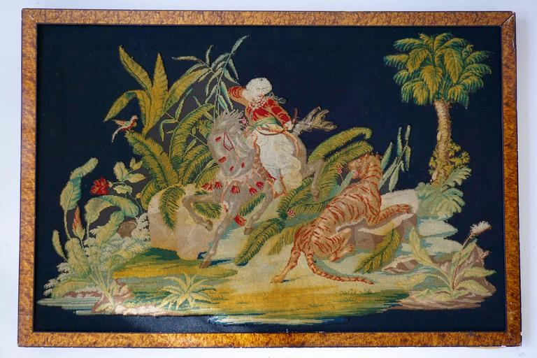 French Pair of Gros – Point Stitched Panels Representing Orientalist Scenes For Sale