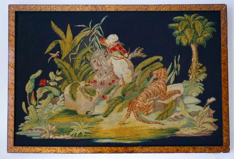 19th Century Pair of Gros – Point Stitched Panels Representing Orientalist Scenes For Sale