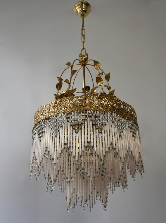 Italian Glass and Brass Chandelier For Sale 2