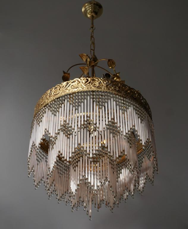 Italian Glass and Brass Chandelier For Sale 3