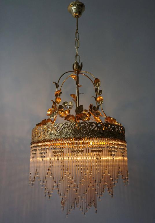 Italian Glass and Brass Chandelier In Good Condition For Sale In Antwerp, BE