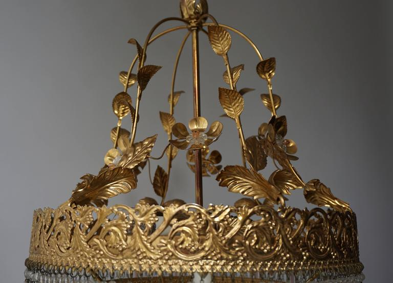 Italian Glass and Brass Chandelier For Sale 5