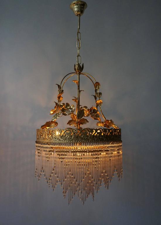 Italian Glass and Brass Chandelier For Sale 4