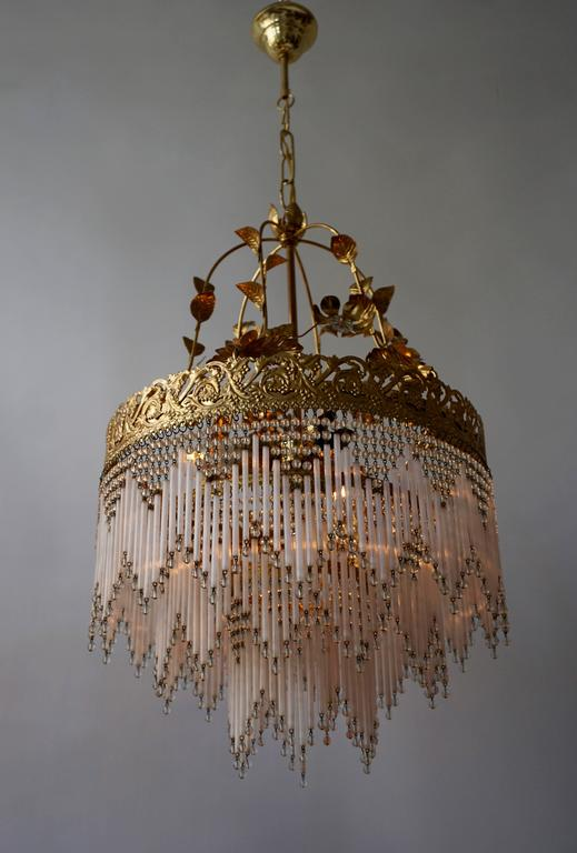 Italian Glass and Brass Chandelier For Sale 1