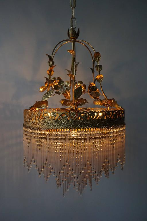 Mid-Century Modern Italian Glass and Brass Chandelier For Sale