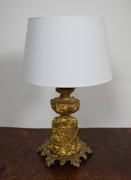Table lamp. Height without shade: 50 cm. Height base without fitting, 30 cm. Diameter: 24 cm.  Height with shade: 55 cm. Diameter: 34 cm.  Price without shade.
