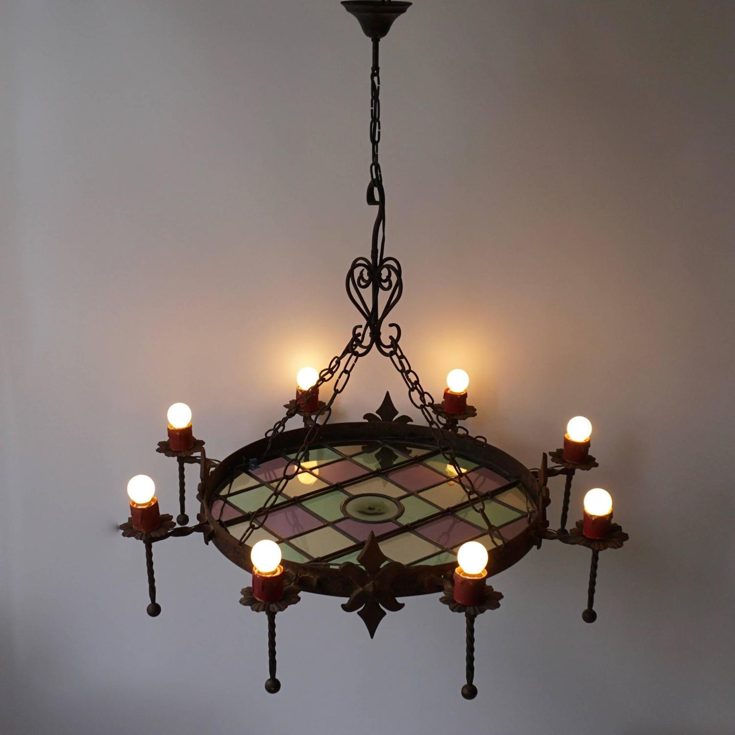 rustic wrought iron belgium chandelier for sale at 1stdibs. Black Bedroom Furniture Sets. Home Design Ideas