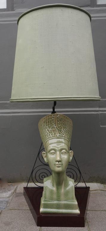 Huge ceramic table lamp. Height: 102 cm. Diameter shade 50 cm. Height shade 44 cm. Depth base 36 cm. Width of the front of the base 21 cm. Width of the back of the base 43 cm.