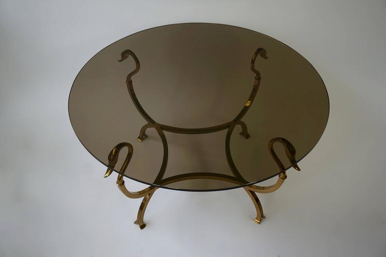 French Italian Brass Swan Cocktail Table For Sale