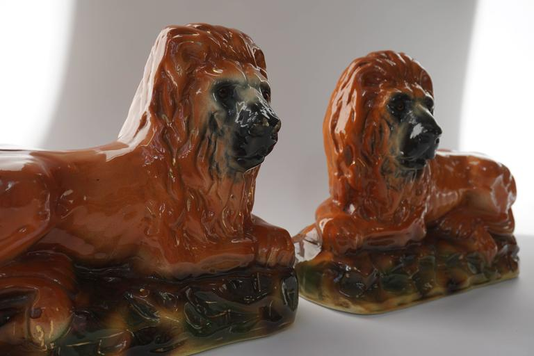 20th Century Two Ceramic Lions For Sale