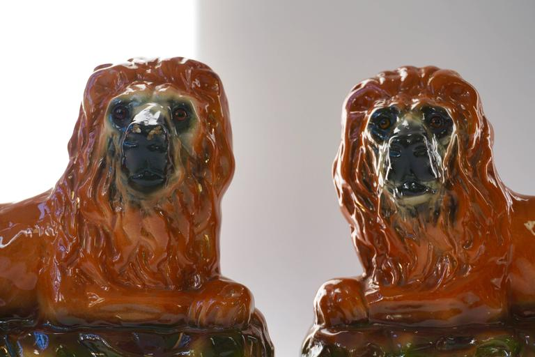 Two Ceramic Lions For Sale 4