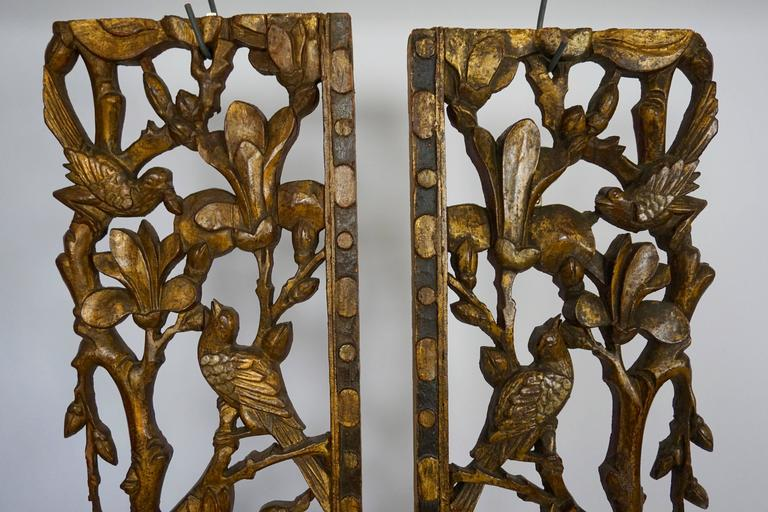 Two Carved Giltwood Mandarin Bed Ornaments - Chinese, 18th or early 19th Century For Sale 4