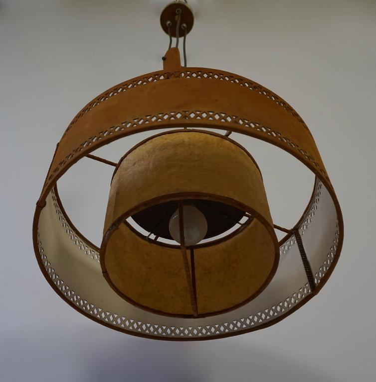 Italian Rare Adjustable Ceiling Light in Brass and Suede For Sale