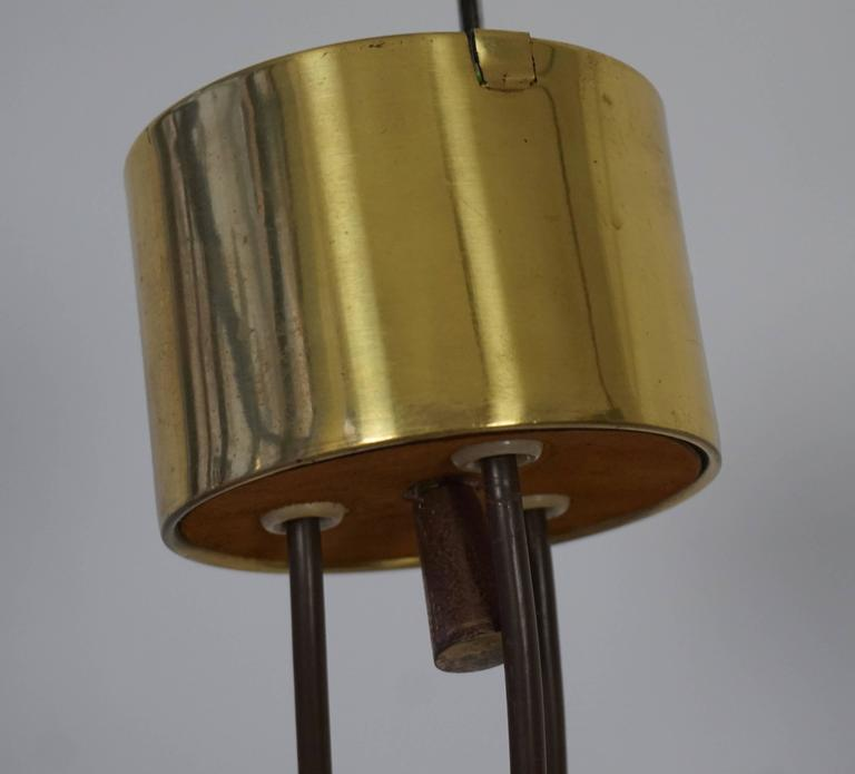 Rare Adjustable Ceiling Light in Brass and Suede For Sale 3