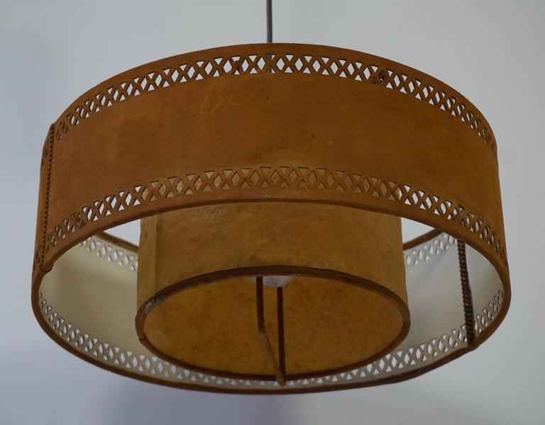 Rare Adjustable Ceiling Light in Brass and Suede In Good Condition For Sale In Antwerp, BE