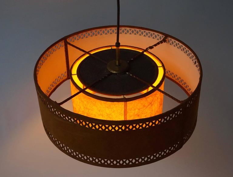 Rare Adjustable Ceiling Light in Brass and Suede For Sale 2
