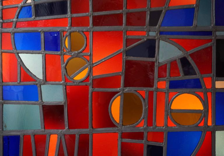 Mid-Century Modern Large Stained Glass Window Panel For Sale