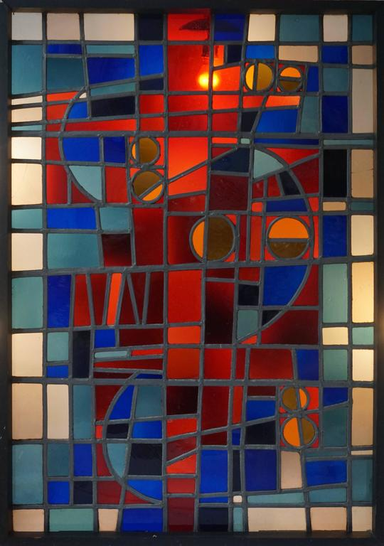 Belgian Large Stained Glass Window Panel For Sale