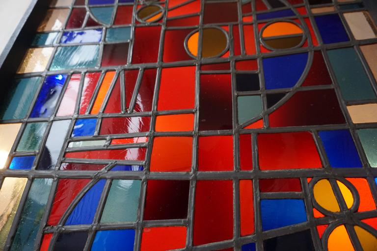 20th Century Large Stained Glass Window Panel For Sale