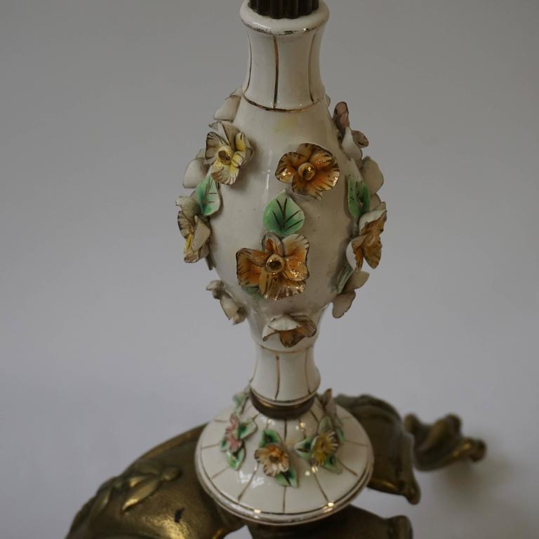 Italian Brass and Porcelain Floor Lamp For Sale 1