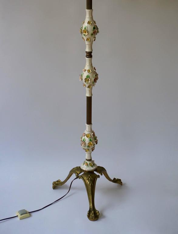 Hollywood Regency Italian Brass and Porcelain Floor Lamp For Sale