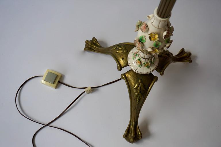 Italian Brass and Porcelain Floor Lamp For Sale 3