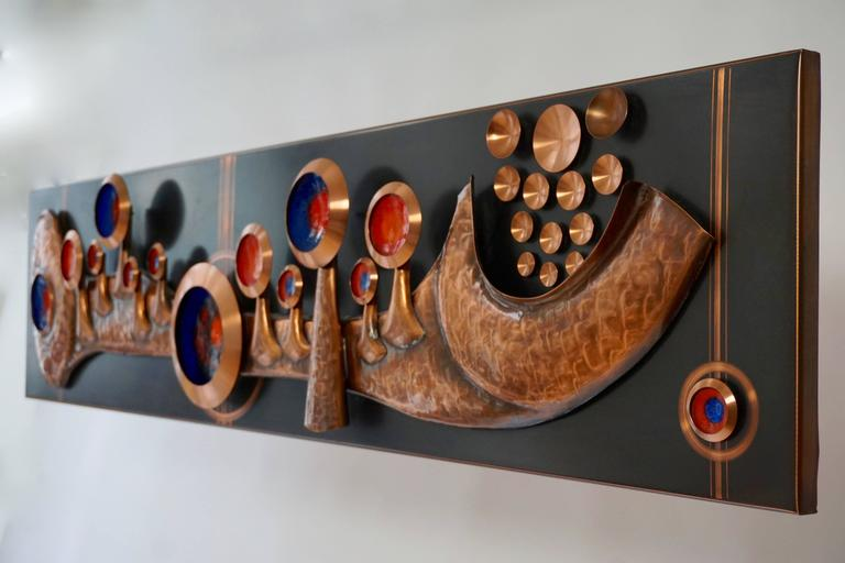 German Copper Wall-Mounted Sculpture For Sale