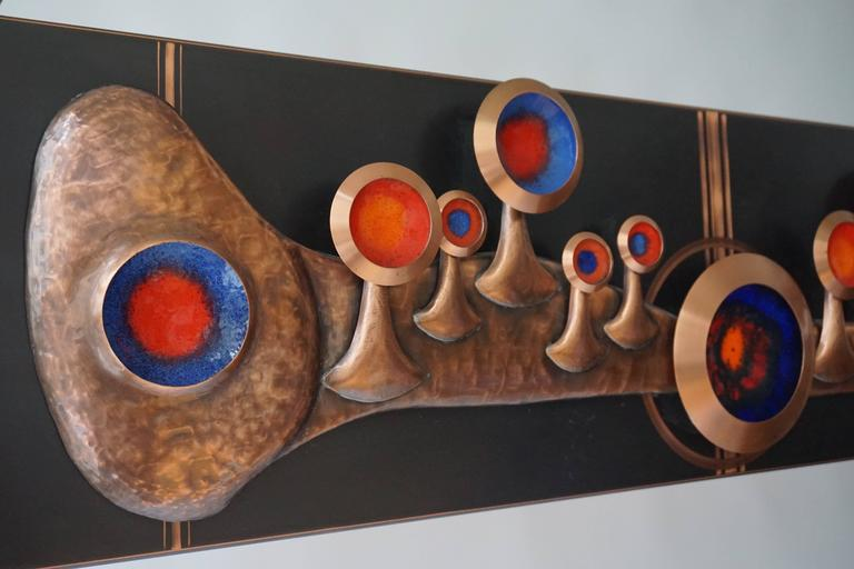 Mid-Century Modern Copper Wall-Mounted Sculpture For Sale
