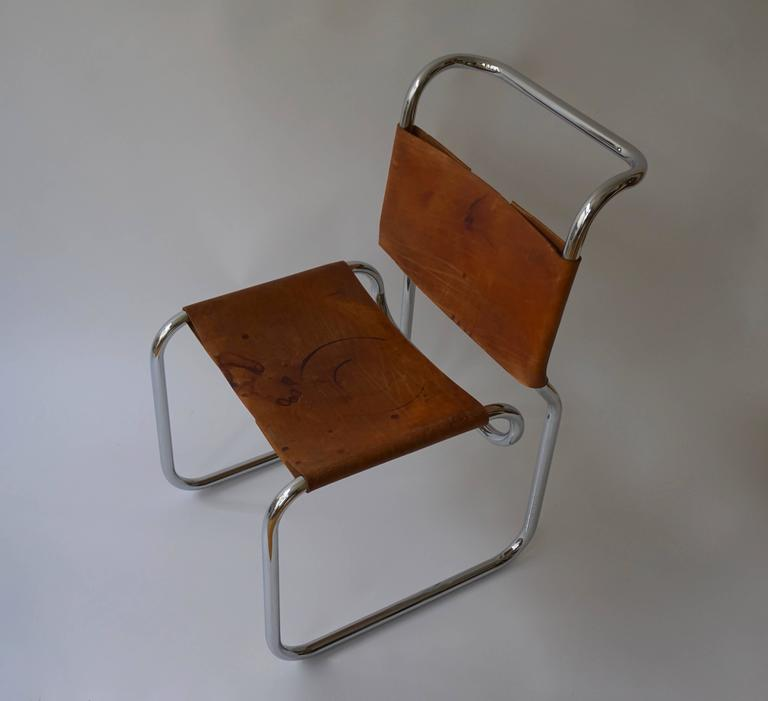 Leather CH66 Dining Chair by Nicos Zographos, 1960s For Sale