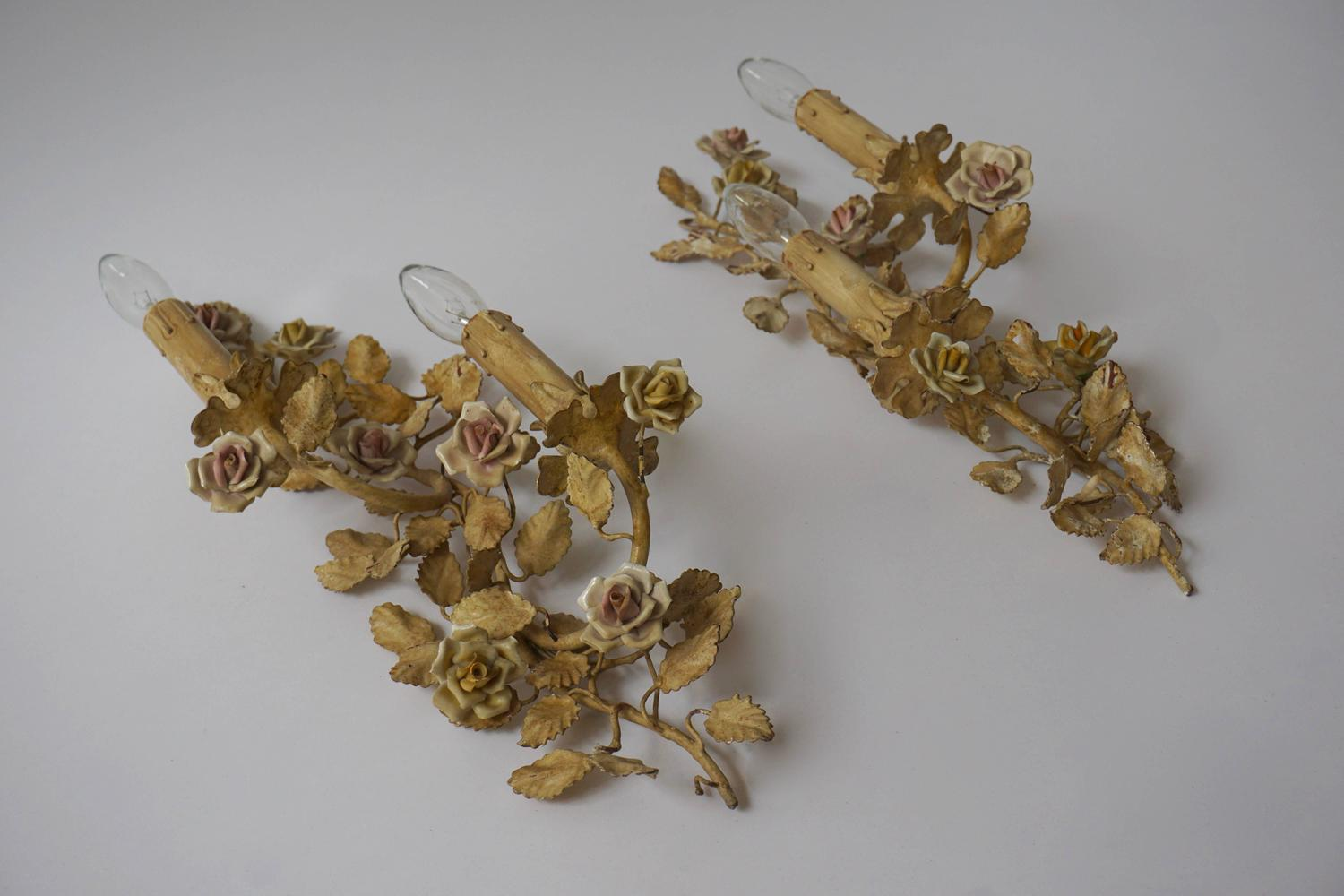 Floral Metal Wall Sconces : Pair of Metal Leaf and Flower Wall Sconce For Sale at 1stdibs