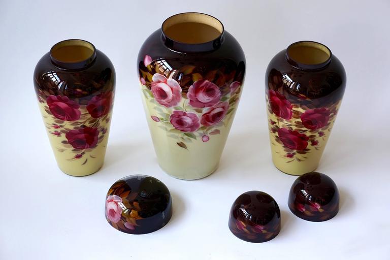 Set of Three Glass Art Deco Vases 3