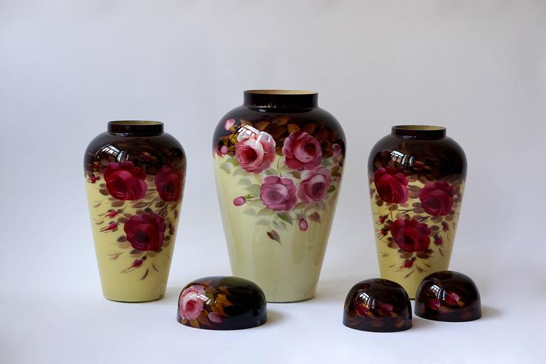 Set of Three Glass Art Deco Vases For Sale 5