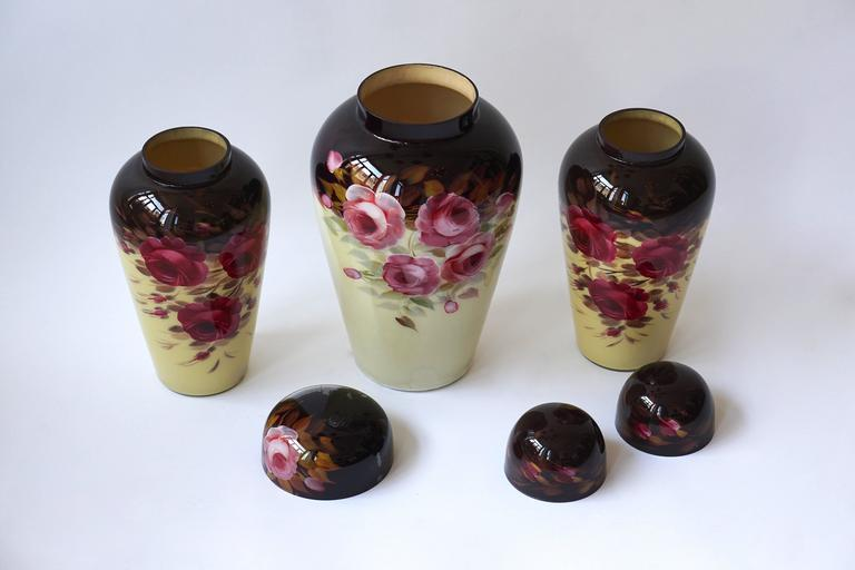Set of Three Glass Art Deco Vases For Sale 4