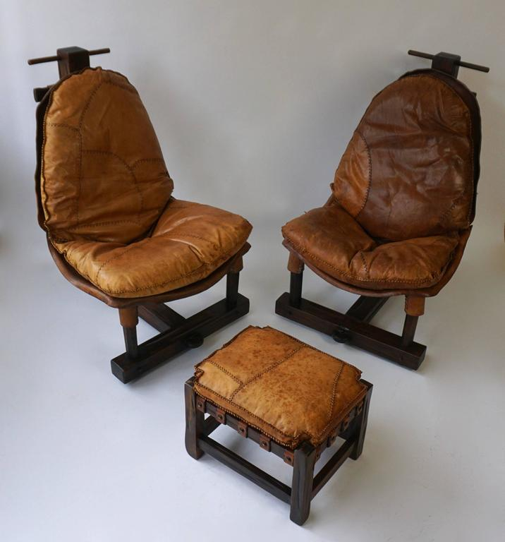 Leather Rare Mid-Century Four Pieces Living Room Set For Sale