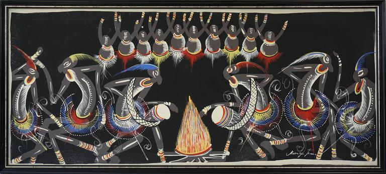 African painting,dancing people from Congo. Measures: Width 148 cm. Height 67 cm.
